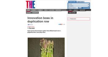 ภาพข่าว ?Innovation boss in duplication row? จาก Times Higher Education