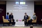 """เสวนา """"เกิดน้อย ด้อยคุณภาพ อนาคตประเทศไทยไปทางไหน?"""" โดยมีวิทยากรได้แก่ นายมีชัย วีระไวทยะ (ขวาสุด) นายโฆสิต ปั้นเปี่ยมรัษฎ์ (ที่ 3 จากขวา) และ ดร.เศรษฐพุฒิ สุทธิวาทนฤพุฒิ (ที่2จากขวา) และ ดร.ณัฏฐา โกมลวาทิน เป็นผู้ดำเนินรายการ"""