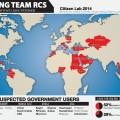 แผนที่การใช้ซอฟต์แวร์สอดแนมของ Hacking Team ที่มา: Citizen Lab