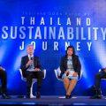 เสวนา Thailand SDGs: From commitment to action โดยนายรพี สุจริตกุล เลขาธิการ สำนักงานคณะกรรมการกำกับหลักทรัพย์และตลาดหลักทรัพย์ (ก.ล.ต.)(ที่2 จากซ้าย), ดร.เศรษฐพุฒิ สุทธิวาทนฤพุฒิ ประธานกรรมการบริหาร สถาบันอนาคตไทยศึกษา (ขวาสุด) , นางสาวลดาวัลย์ คำภารองเลขาธิการ คณะกรรมการพัฒนาการเศรษฐกิจและสังคมแห่งชาติ (สศช.)(ที่20kd-;kX, และ ดร.บัณฑูร เศรษฐศิโรตม์ ผู้อำนวยการ สถาบันธรรมรัฐเพื่อการพัฒนาสังคมและสิ่งแวดล้อม(ซ้ายสุด) เป็นผู้ดำเนินรายการ